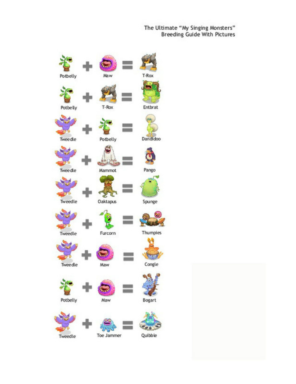 breeding my singing monsters